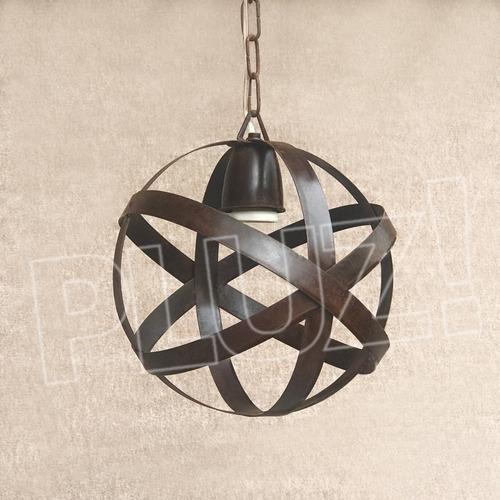 listón con 3 lámparas colgante esfera chica - hierro óxido