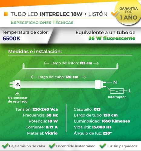 liston simple + 1 tubo led 18w equiv. 36w luz fria
