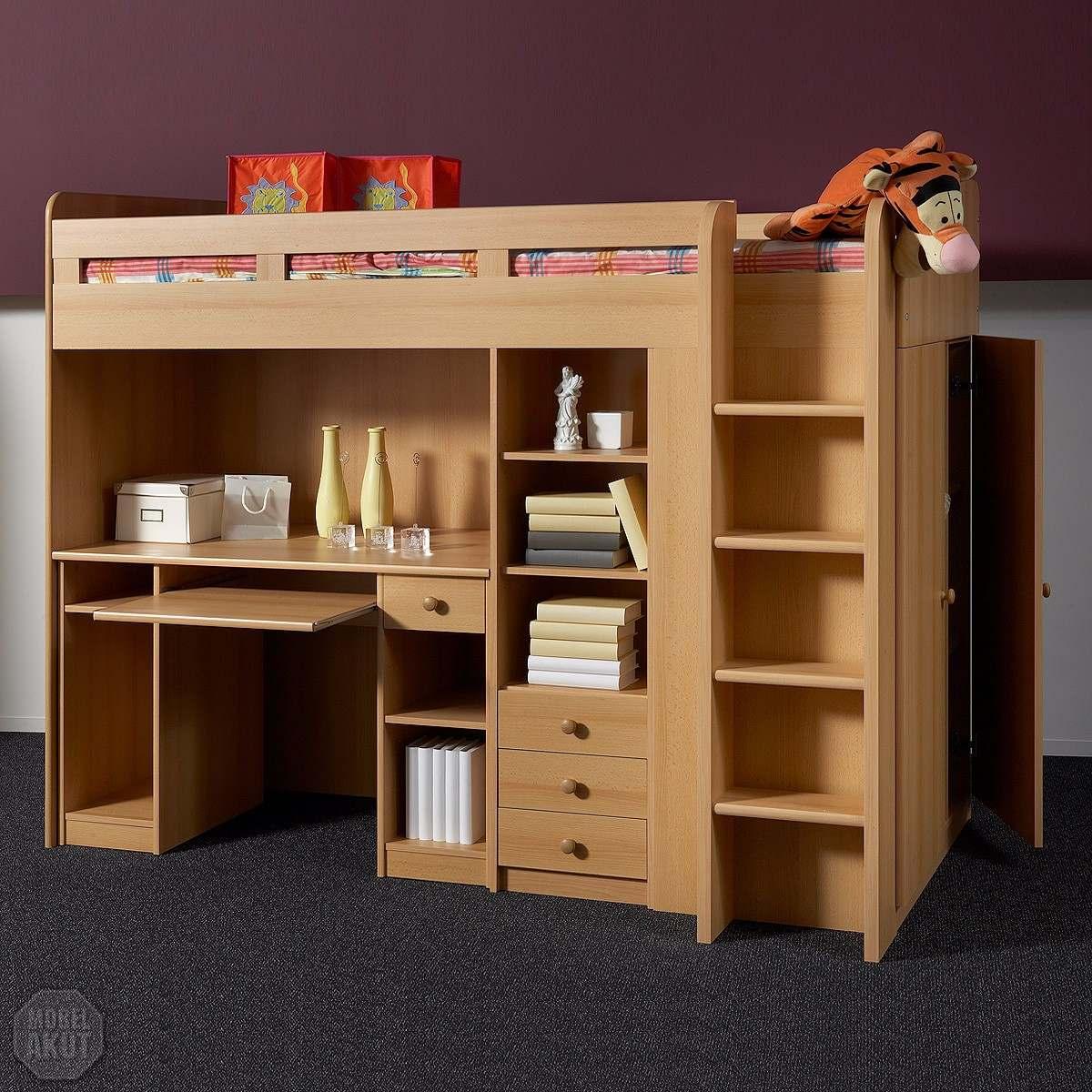 Cama con escritorio debajo cama y armario escritorio alta for Camas con cajones debajo