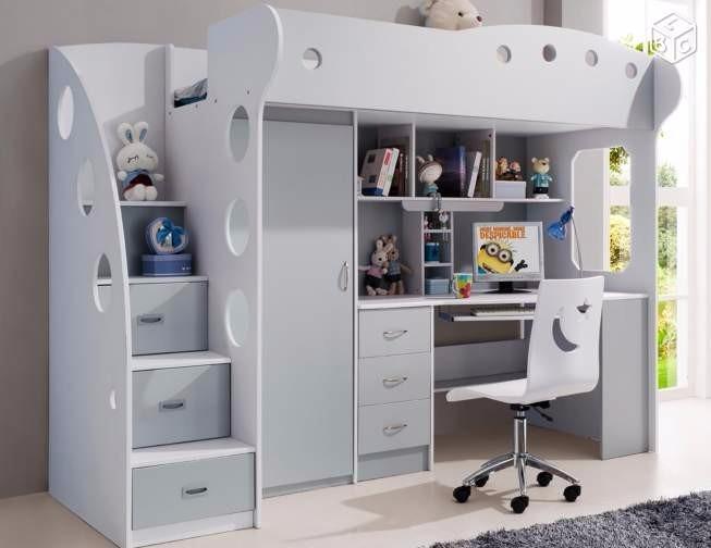 Litera cama 1 1 2plz escritorio cajones repisa closet le - Litera con escritorio debajo ...