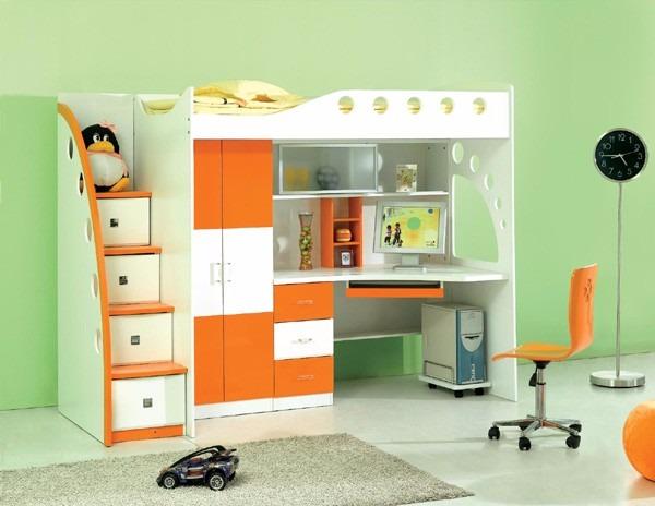 Litera cama 1 1 2plz escritorio repisa cajones closet le - Cama litera con escritorio debajo ...