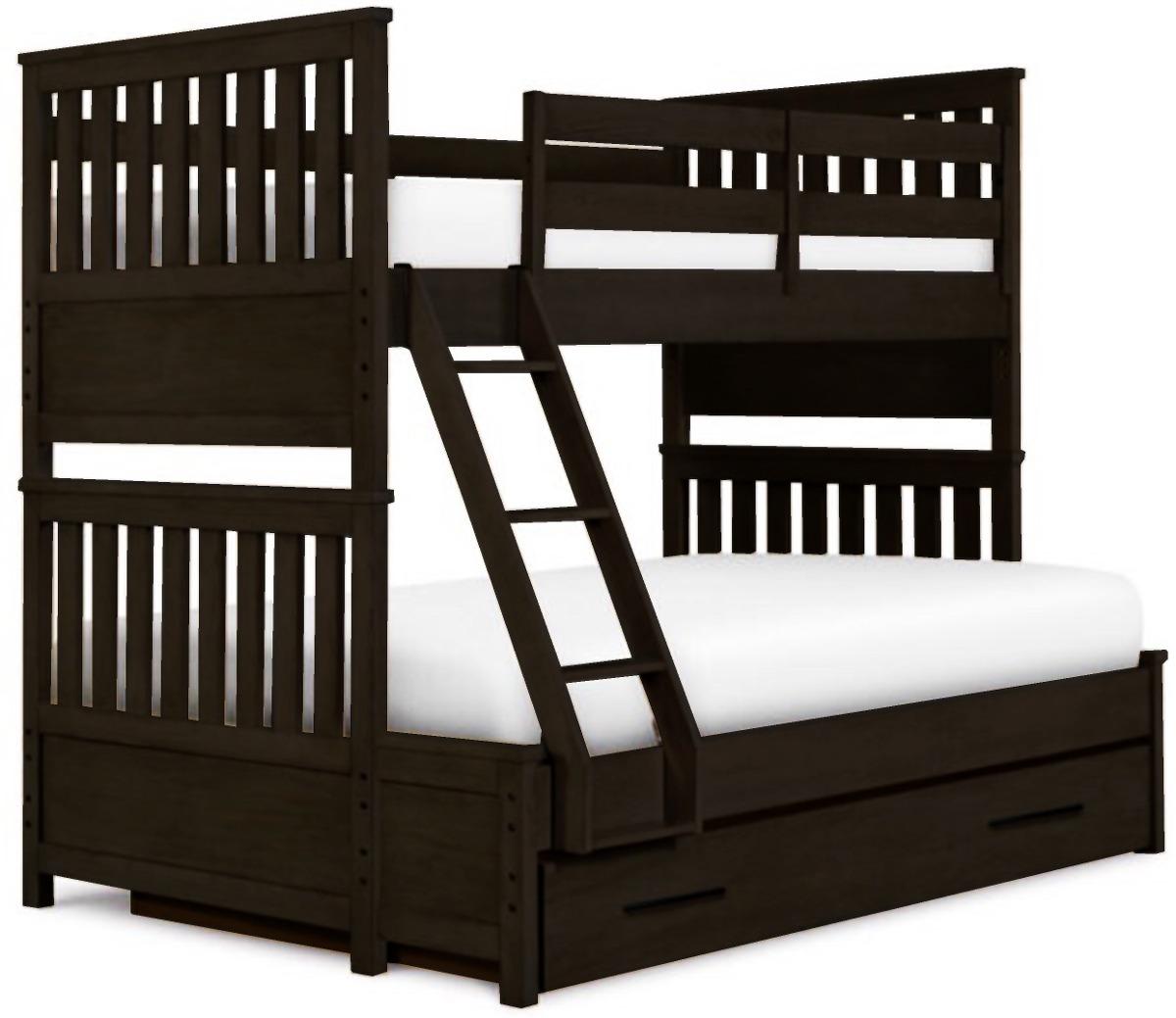 Litera cama individual matrimonial chocolate mueble madera for Cama matrimonial con cama individual abajo
