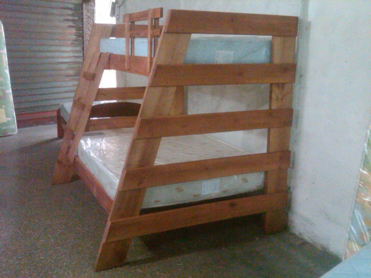 Litera combinada matrimonial e individual sin colchon for Como hacer una cama matrimonial de madera