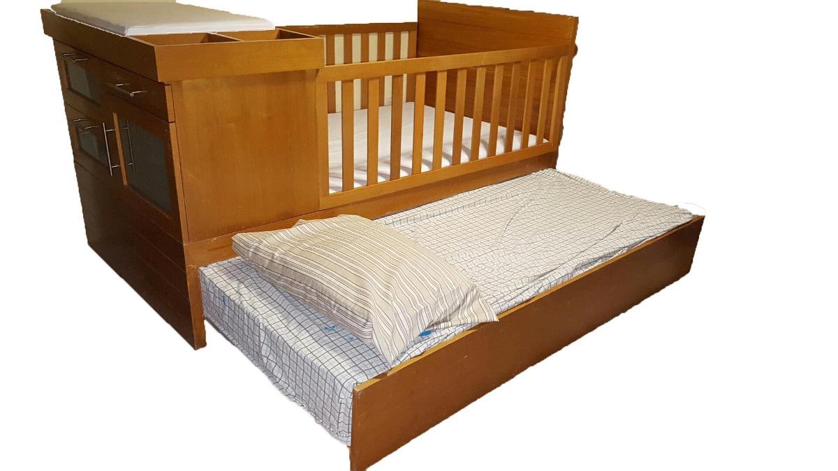 Litera cuna corral cambiador 2 buro 2 camas individuales for Buros de cama modernos