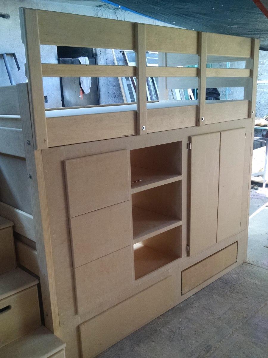Litera de madera con cajones ropero infantil nueva 10 en mercado libre - Literas con escaleras de cajones ...