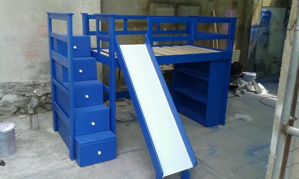 Litera de madera con escalera cajonera 9 en - Escalera cajones para litera ...