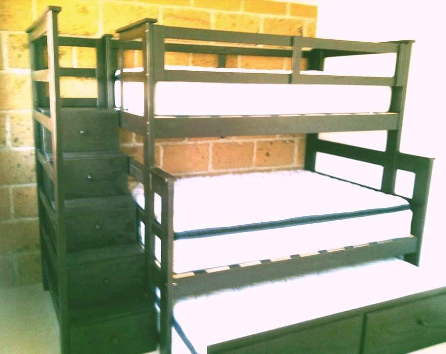 Litera de madera con escalera cajonera 9 en - Literas con escaleras de cajones ...