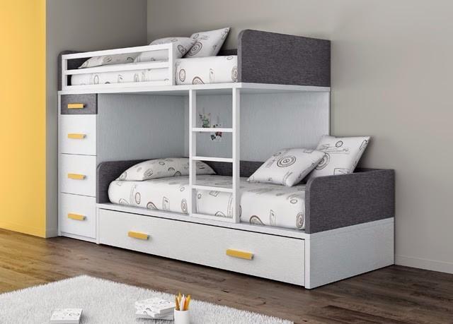 Litera dos camas 1 1 2plz cajones o cama repisa le 071 - Dos camas en una ...