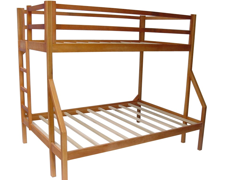 Litera matrimonial individual en madera de pino - Litera con cama de matrimonio ...