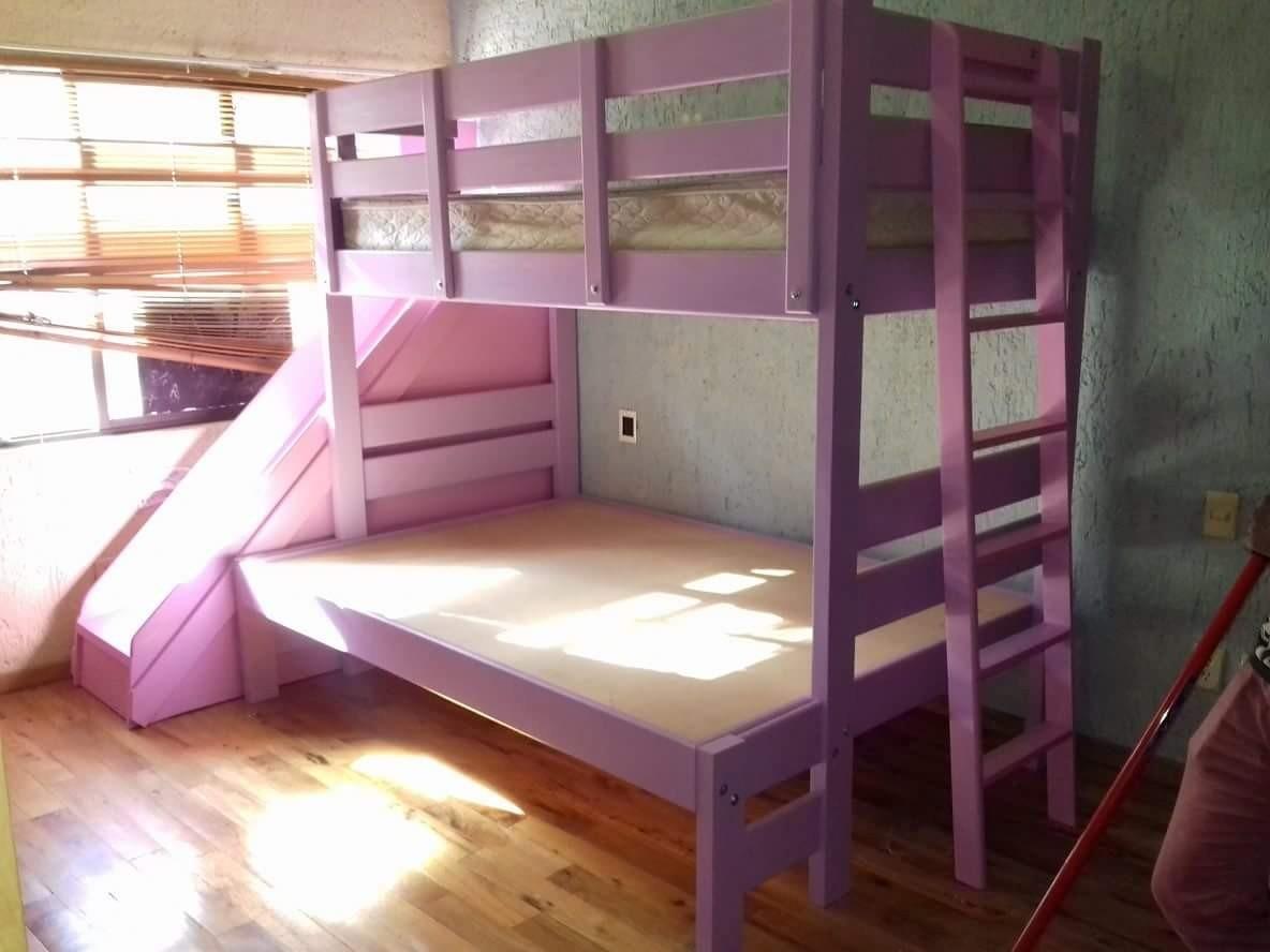 Litera matrimonial individual resbaladilla y ropero madera - Litera con cama de matrimonio ...