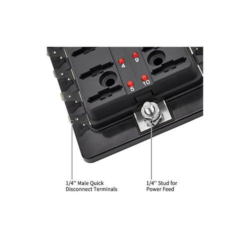 liteway 10 way blade fuse holder box 12-32v led iluminado au