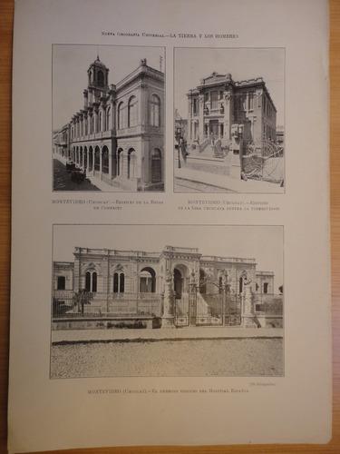 litografía antigua montevideo hospital español ,la bolsa