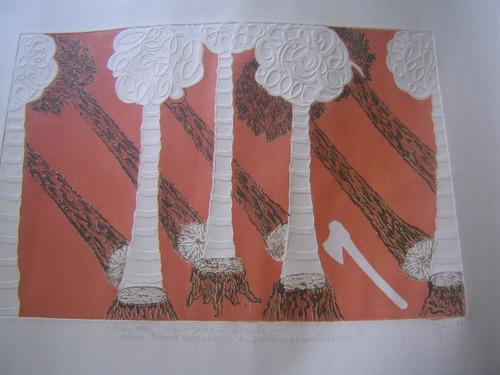 litogravura com relevo seco - izar