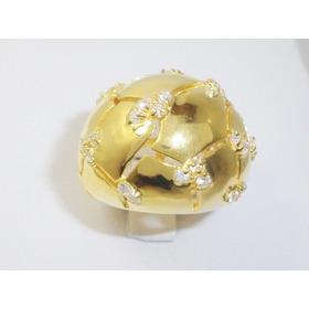 Litoraljoias2015 Anel Gigante Prata 925 Dourado 31 Zirconia