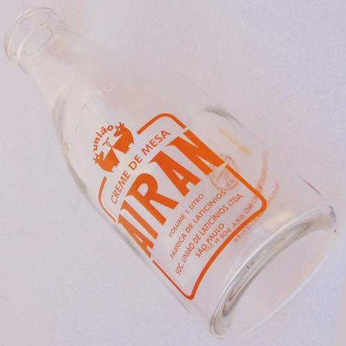 litro de creme de leite airan garrafa vidro objeto antigo