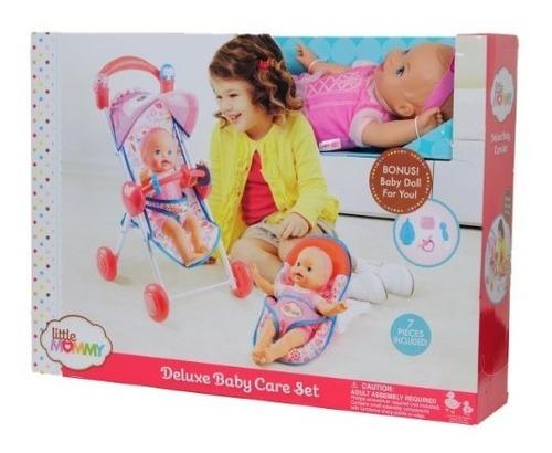 little mommy deluxe baby care set con muñeca cochecito  asie