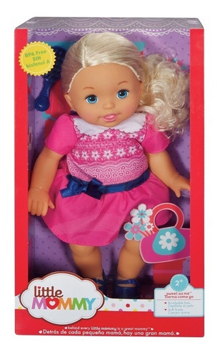 little mommy doce bebe vestido rosa com laço azul