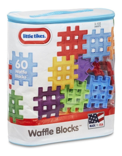 little tikes juguete big bag waffle blocks, 60 piezas