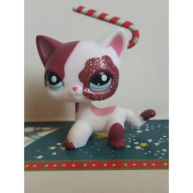 Littlest Pet Shop Lps Gata Branca Brilho Rosa E Olhos Azuis