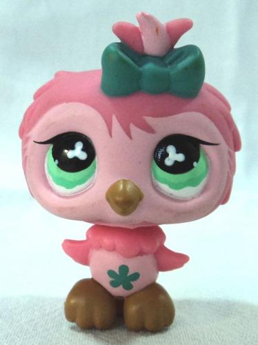 littlest pet shop original lechuza rosa buho ojos verdes