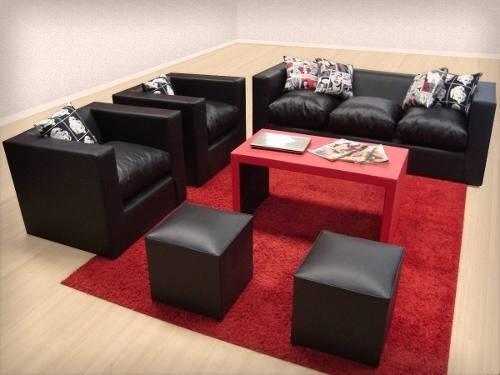 Living minimalista con mesa y 2 puff hermoso en mercado libre - Puffs sillones ...