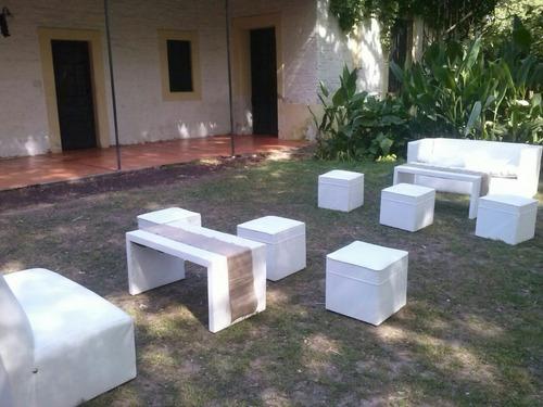 living para alquiler 12 personas butacon mesa cubos fabrica