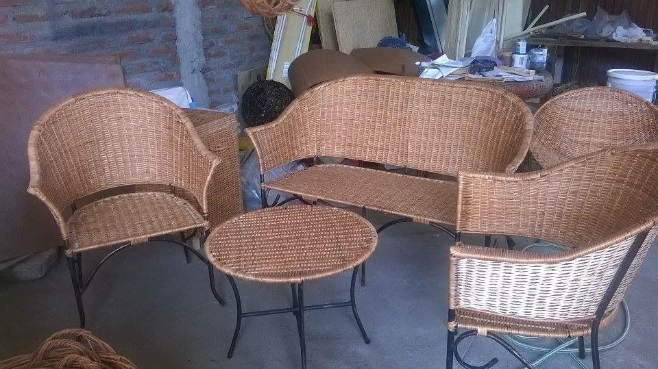Living sillones sillas de mimbre en mercado libre for Sillones de living