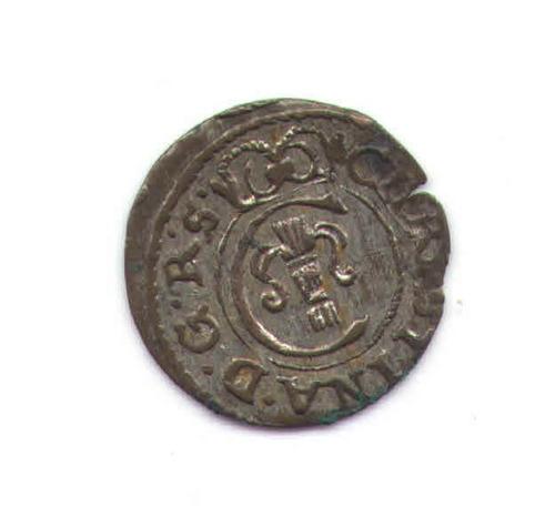 livonia riga solidus en vellon- cristina suecia silver1653xf