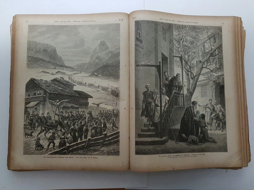 livro antigo alemão uber land und meer 1883  jornal antigo