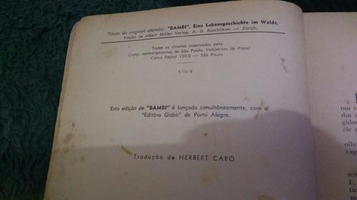 livro antigo bambi felix salten raro frete grátis