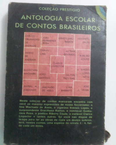 livro antologia escolar de contos brasileiros