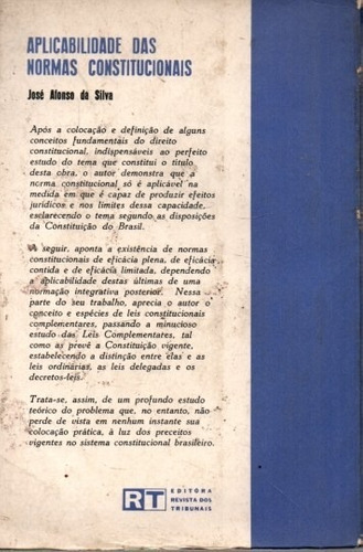 livro aplicabilidade das normas constitucionais josé afonso