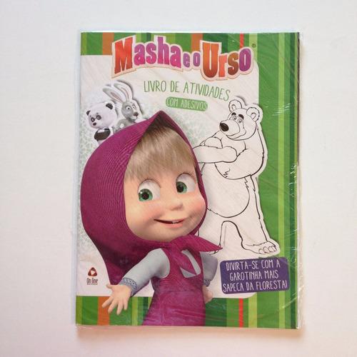 livro de atividades com adesivos masha e o urso
