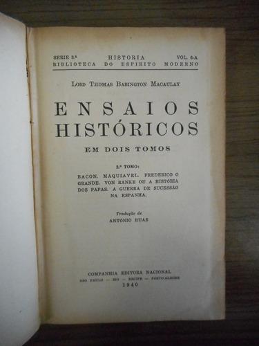 livro ensaios históricos lord thomas babington macaulay