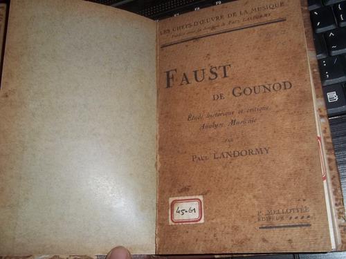 livro  faust de gounod les chefs d´ceuvre de la musique