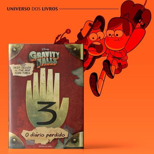 livro gravity falls - diário 3 + chaveiro diário 3 em metal