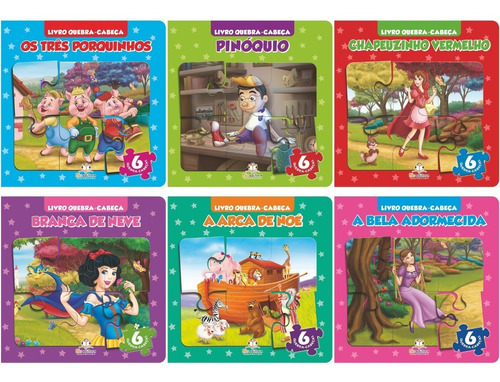 livro infantil quebra-cabeça pequeno coleção kit 6 livros