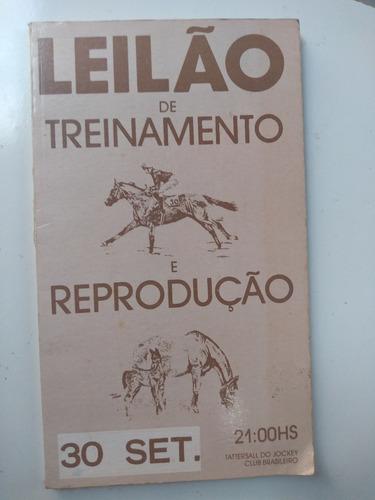 livro - leilão de animais em treinamento e reprodução - 1987