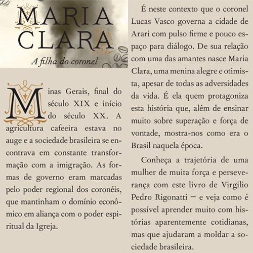 livro maria clara, a filha do coronel - virgílio p rigonatti