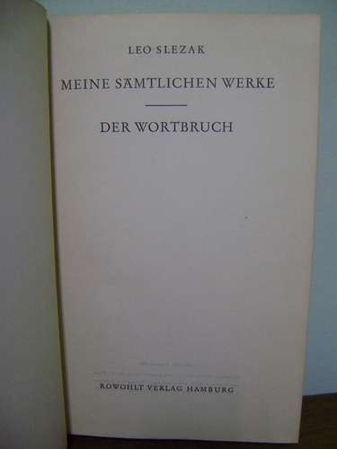 livro meine samtlichen werke - leo slezak