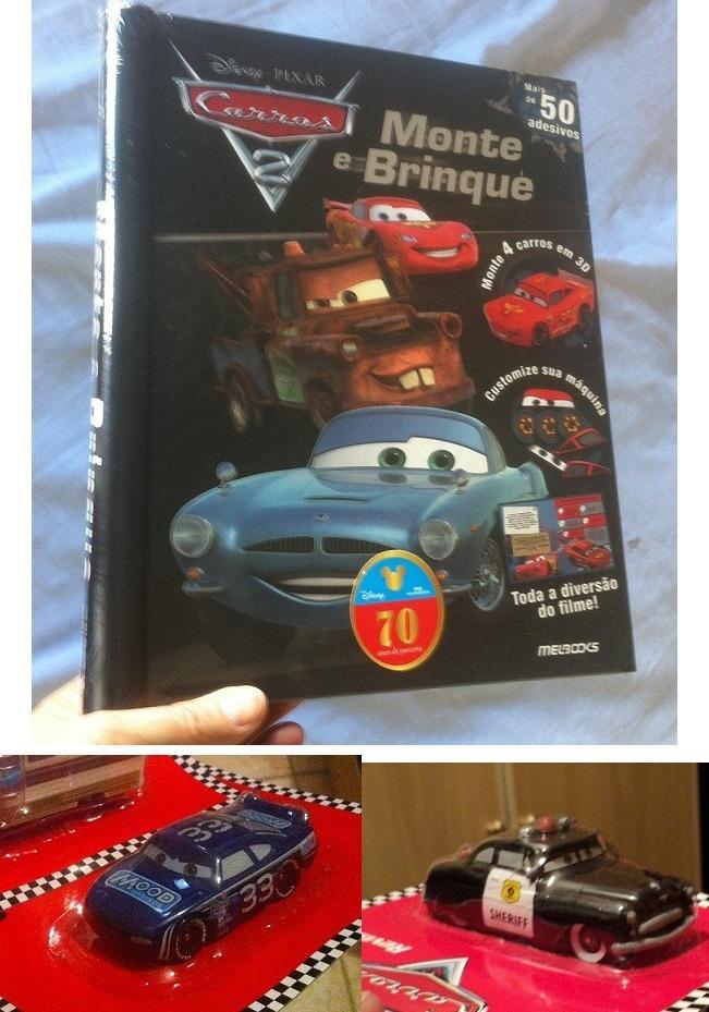 Livro Monte Brinque Desenho Carros Mcqueen Mate E 2 Carrinho R