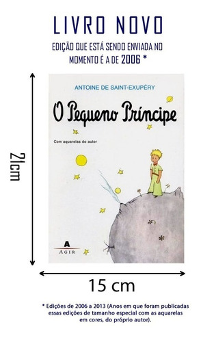 livro o pequeno príncipe - 21 x 15 cm editora: agir - 2013