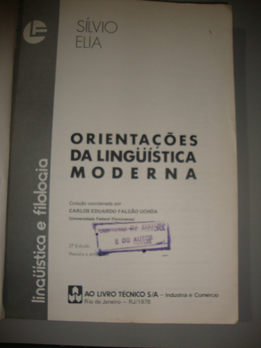 livro  orientações da linguística moderna  - sílvio elia