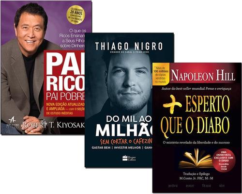 livro pai rico pai pobre+ do mil ao milhão+ mais esperto que