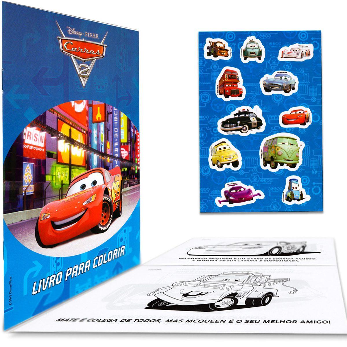 Livro Para Colorir Maleta Carros Disney Historia E Atividade R