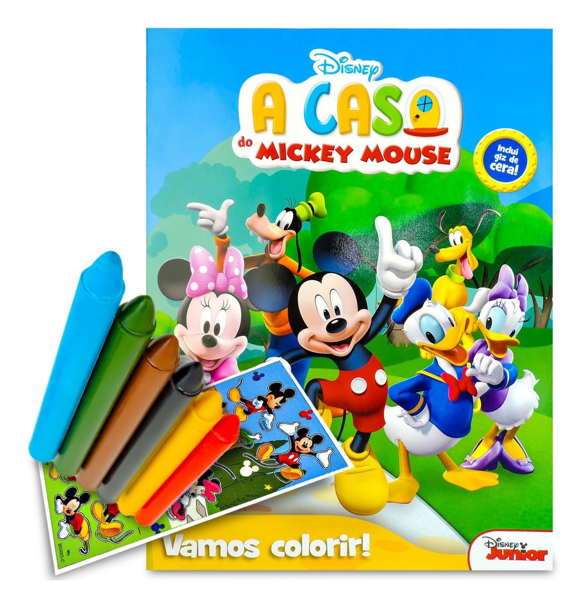 Livro Para Colorir Turma Do Mickey Com 6 Giz De Cera R 16 90 Em