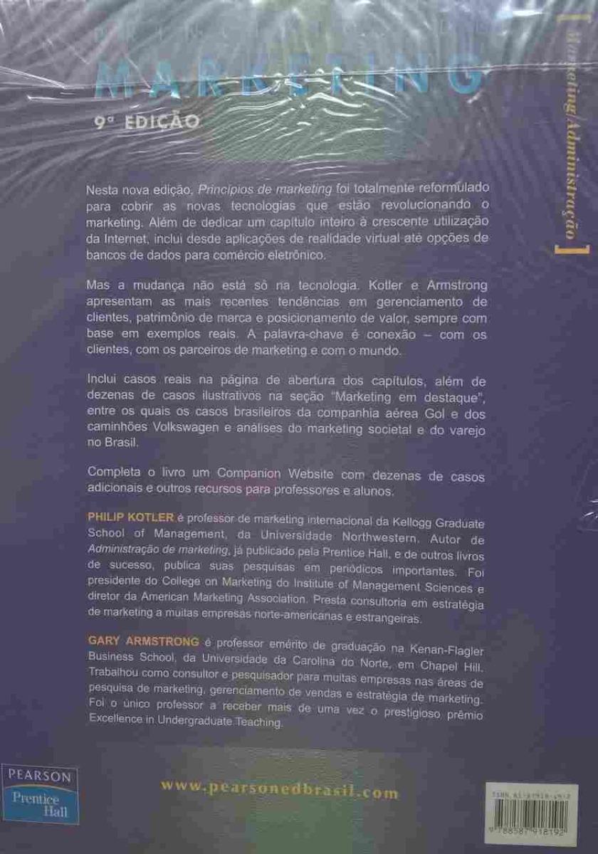 Livro Principios De Marketing 9ª Edicao Kotler Armstrong R