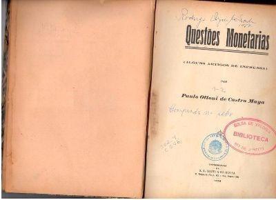 livro questões monetárias paulo ottoni de castro maya