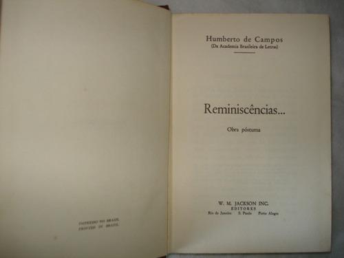 livro - reminiscências - humberto de campos