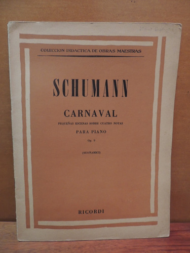 livro schumann carnaval pequenas escenas para piano ricordi